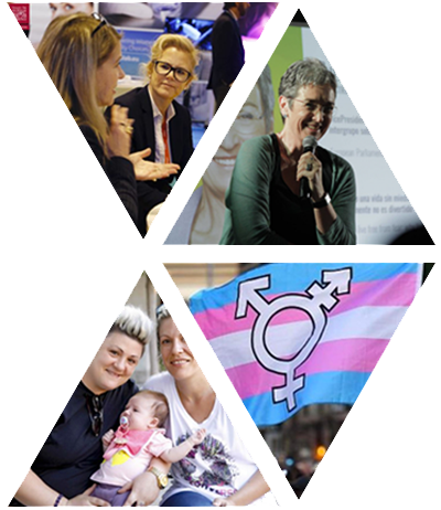 Photo collage of lesbian women and a trans flag
