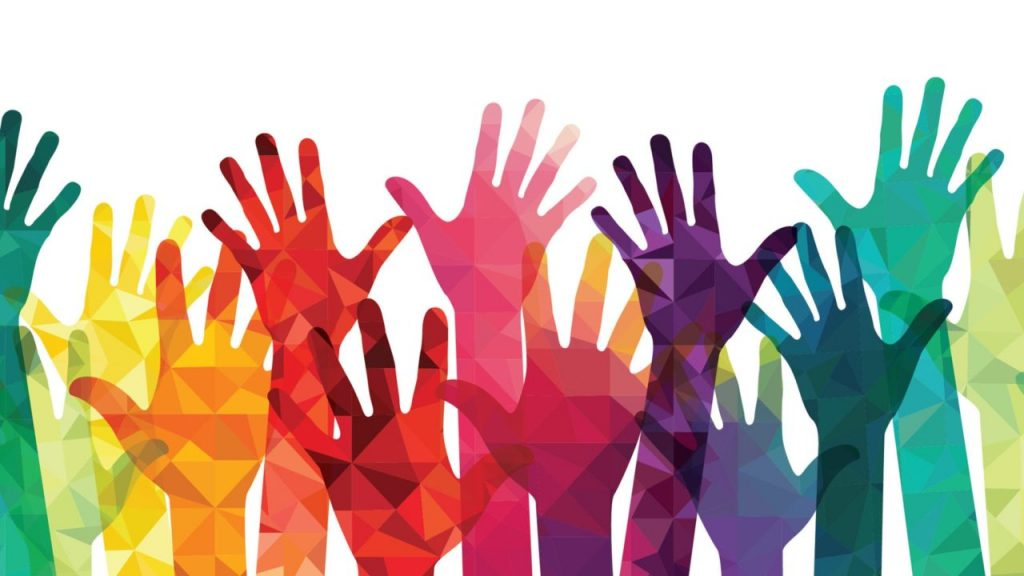 illustration of several raised hands rainbow-colored