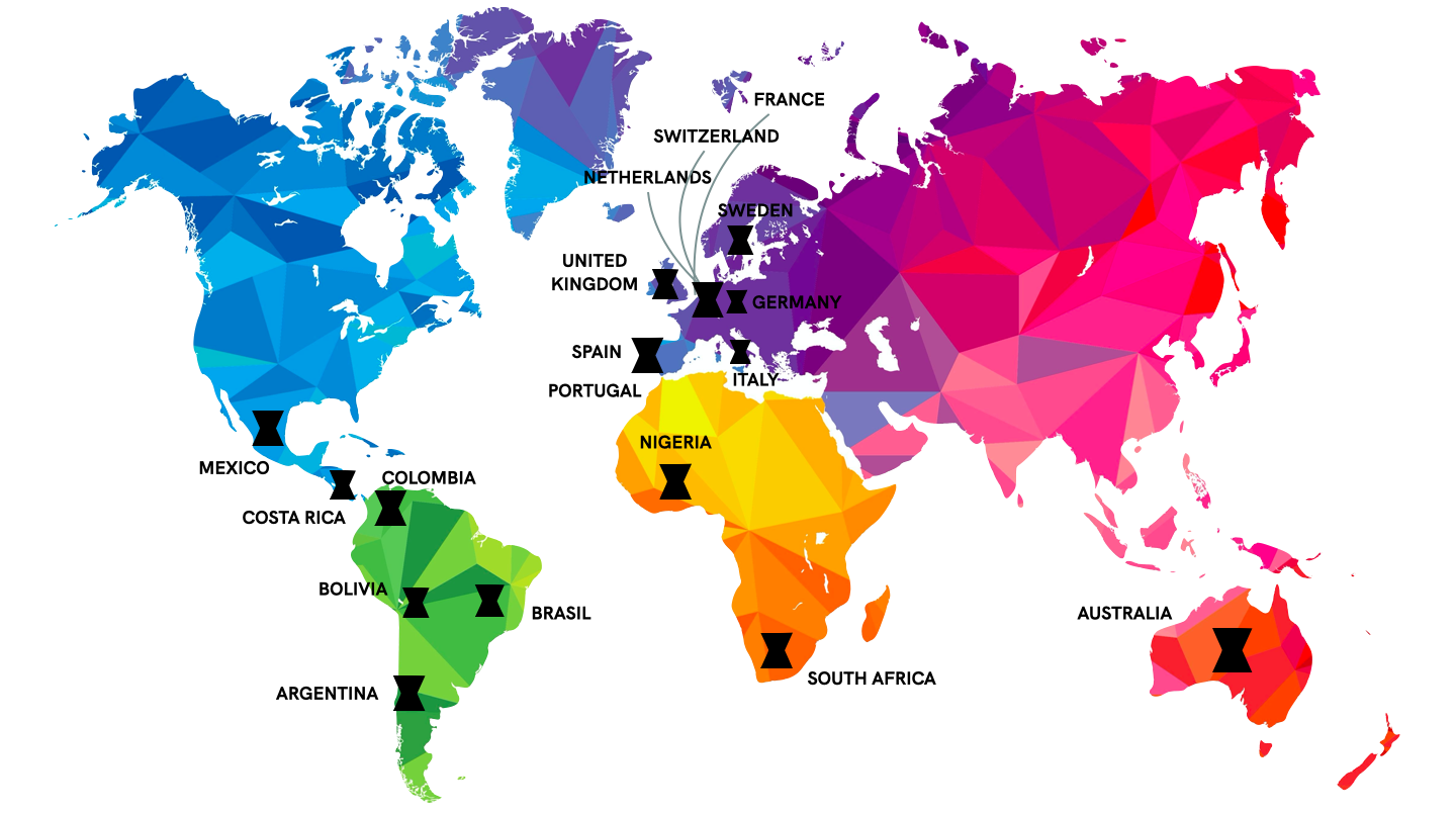 this is a world map where you can see all listed ELLA lesbian and queer communities over the world