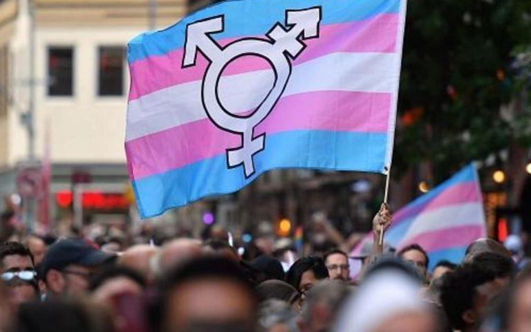 Bandera con el logo trans en manifestacion