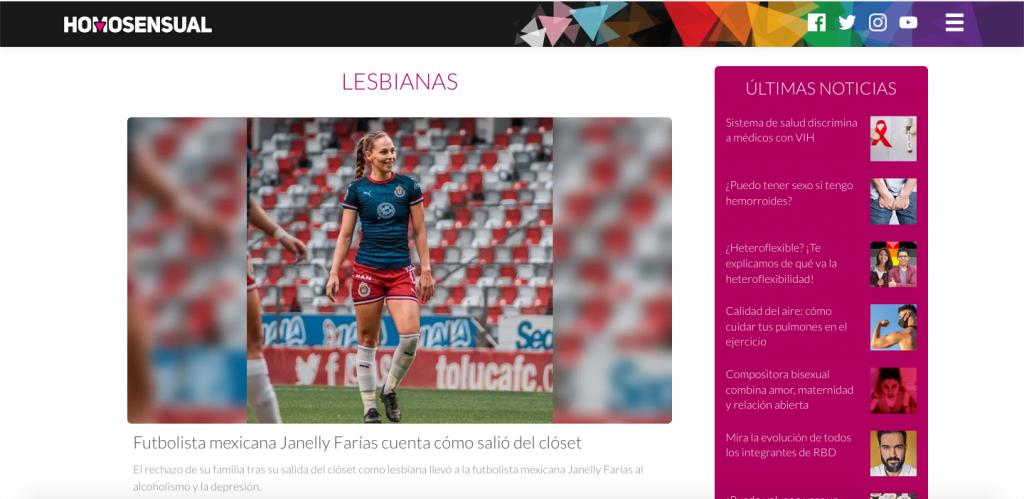 Pantallazo con mujer futbolista pagina homosensual