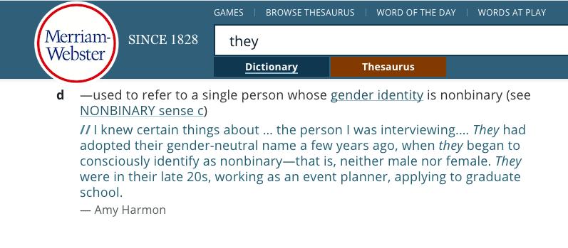 Pantallazo del diccionario Merriam Webster palabra they