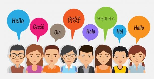 Ilustracion de pesonas diciendo hola en diferentes idiomas
