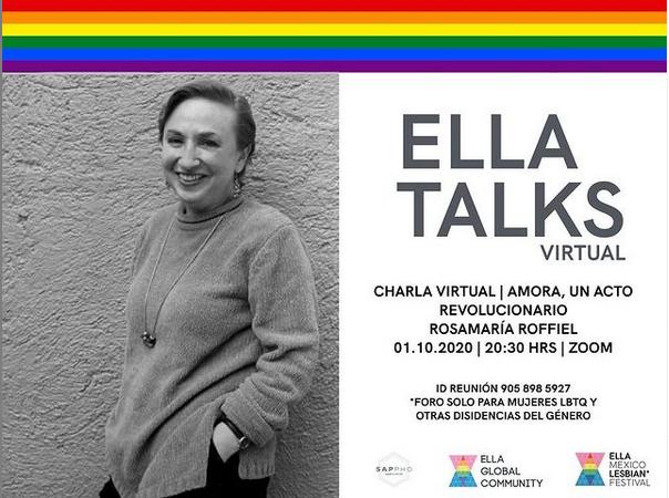 cartel de los ELLA Talks Virtuales de Mexico con Rosa Maria Roffiel