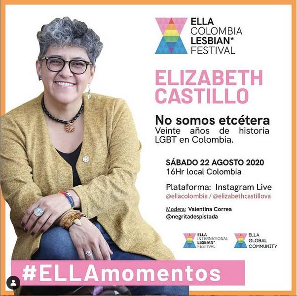 Cartel de las charlas ELLA con la ponente LGBTIQ Elizabeth Castillo de Colombia