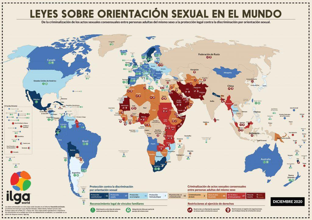 Mapa mundial sobre las leyes de la orientación sexual - ILGA World 2020